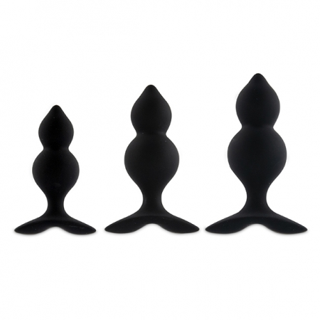 Image of Bibi Twin Buttplug Set Black